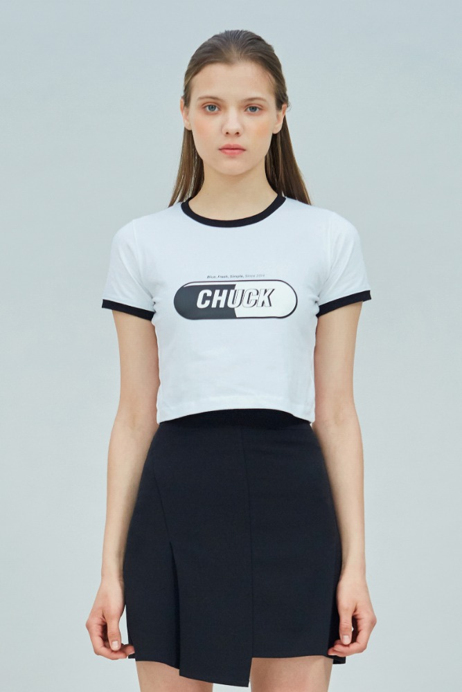 19 SUMMER CHUCK SIGNATURE LOGO CROP T-SHIRT (WHITE)