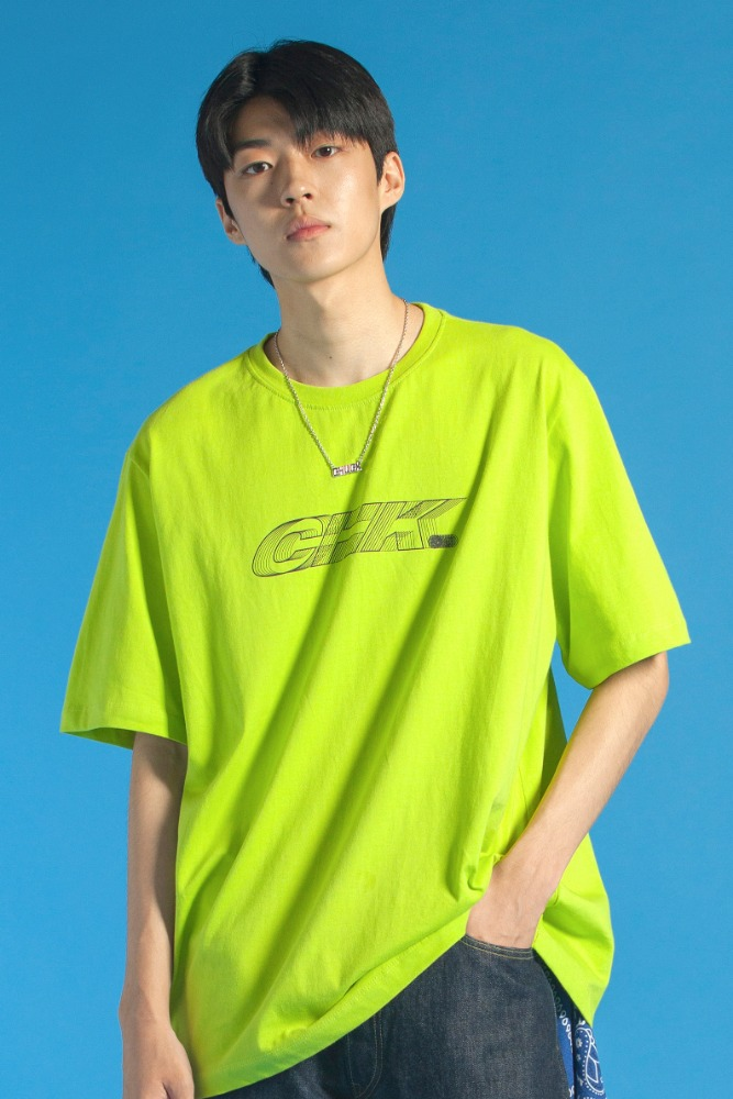 19 SUMMER CHK LOGO T-SHIRT (LIME)