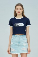 19 SUMMER CHUCK SIGNATURE LOGO CROP T-SHIRT (NAVY)